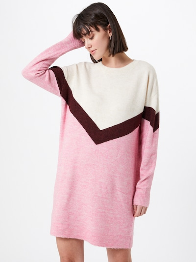 VERO MODA Kleid 'Gingo' in rosa / weinrot / offwhite, Modelansicht