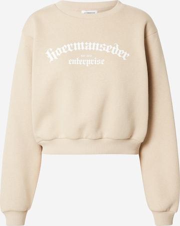 Hoermanseder x About You Sweatshirt 'Ela' in Beige