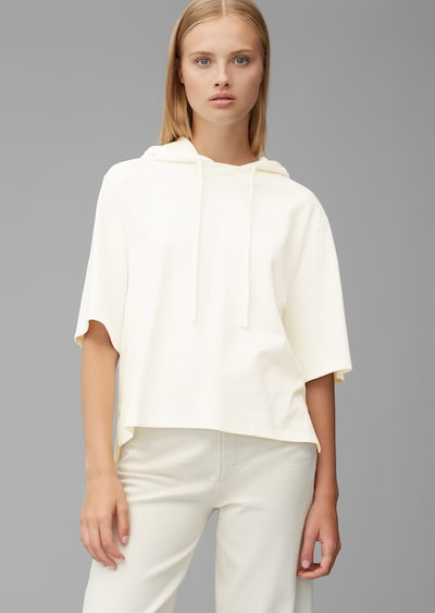 Marc O'Polo DENIM Kurzarm-Hoodie 'aus Organic Cotton' in weiß: Frontalansicht