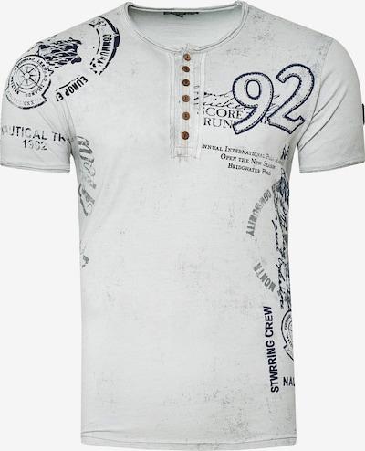 Rusty Neal T-Shirt mit Knopfleiste in grau: Frontalansicht