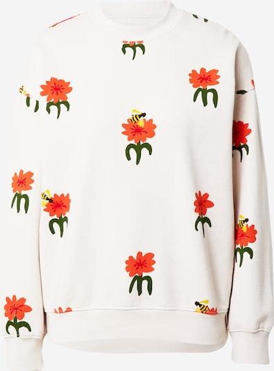 Thinking MU Sweatshirt 'Carnations' in nude / gelb / grün / dunkelorange / grenadine, Produktansicht