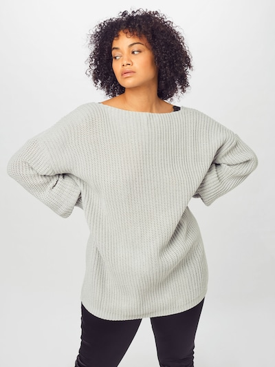 GLAMOROUS CURVE Sweater in Light grey / Black, View model
