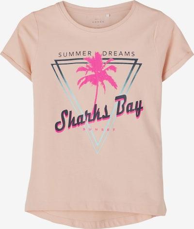 NAME IT Shirt 'Vix' in dunkelgrün / pink / altrosa / schwarz, Produktansicht