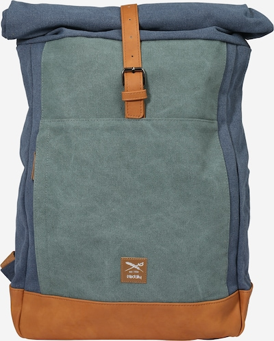 Iriedaily Backpack in Dusty blue / Cognac / Emerald, Item view
