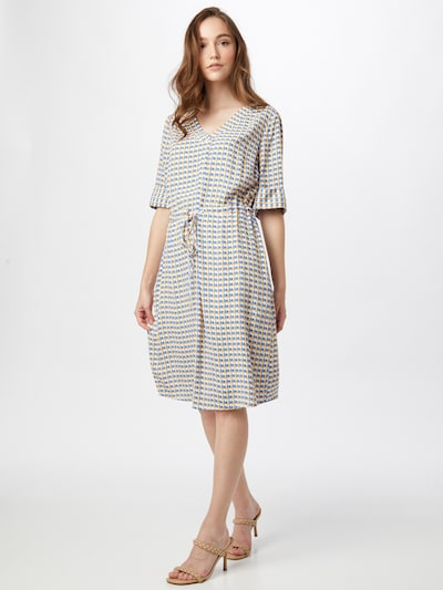 COMMA Kleid in blau / mandarine / weiß, Modelansicht