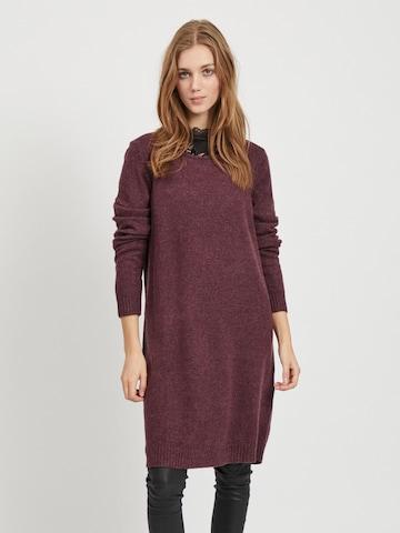 VILA Pletené šaty - Červená