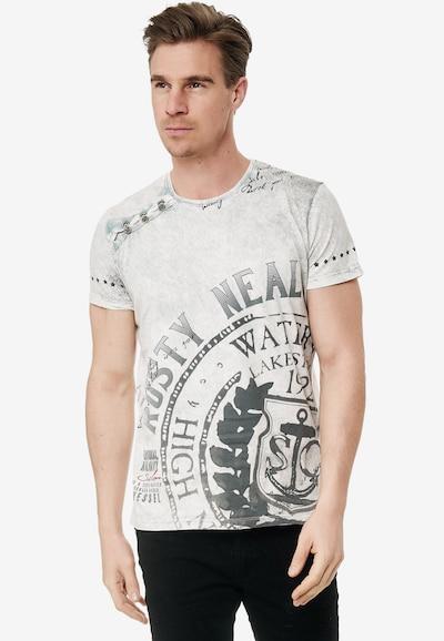 Rusty Neal Cooles T-Shirt mit großem Print in grau: Frontalansicht