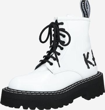 Bottines à lacets 'Patrol II Brush Logo Hi Lace' Karl Lagerfeld en blanc