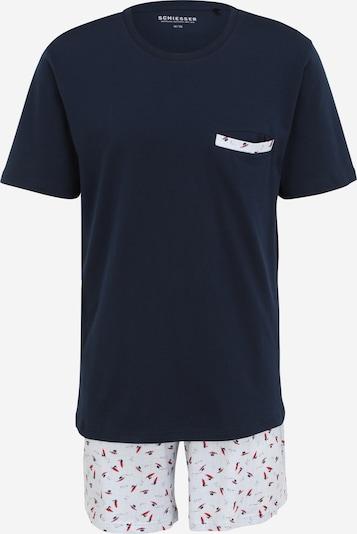 SCHIESSER Pyjama in navy / hellblau / feuerrot / weiß, Produktansicht