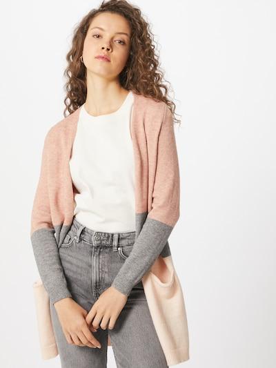 ONLY Cardigan en beige / gris chiné / rose ancienne, Vue avec modèle