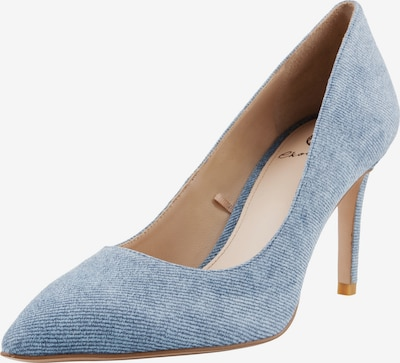 Ekonika Coole Pumps aus Velours mit Prägung in blue denim: Frontalansicht