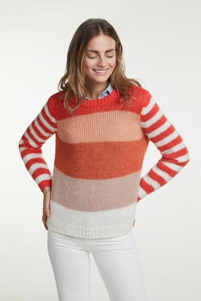 OUI Strickpullover in dunkelbeige / orange / pastellorange / rot / weiß, Modelansicht