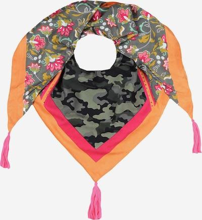 Zwillingsherz Tuch in dunkelgrau / khaki / orange / pink / schwarz, Produktansicht