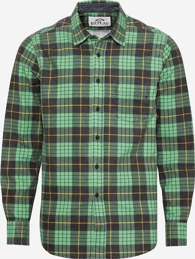REPLAY Hemd in gelb / hellgrün / schwarz, Produktansicht