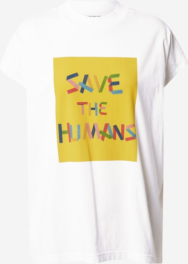 Thinking MU Shirt 'SAVE THE HUMANS' in gelb / mischfarben / weiß, Produktansicht