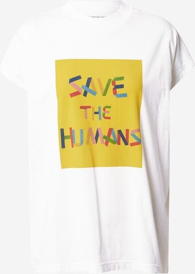 Thinking MU Тениска 'SAVE THE HUMANS' в жълто / пъстро / бяло, Преглед на продукта