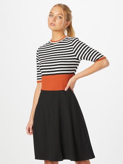 EDC BY ESPRIT Kleid in rostbraun / schwarz / weiß, Modelansicht