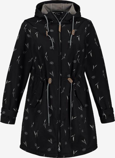Ulla Popken Damen große Größen  bis 64, Softshell-Longjacke, wasserabweisend & winddicht & aktmungsaktiv,Fleecefutter, 2-Wege-Zipper,  723792 in schwarz, Produktansicht