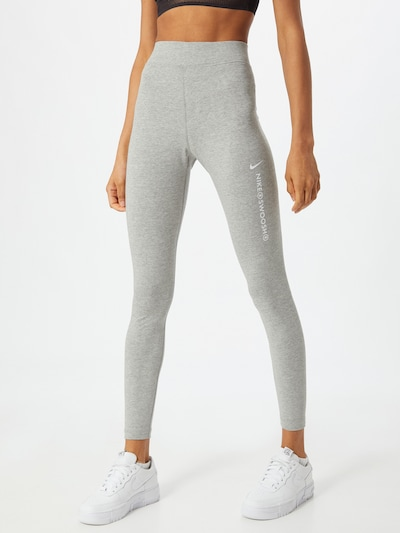 NIKE Sportovní kalhoty 'Swoosh' - šedý melír / bílá, Model/ka