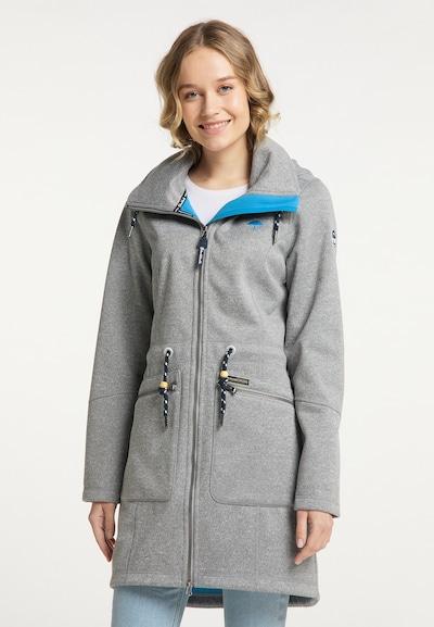 Schmuddelwedda Mantel in neonblau / graumeliert, Modelansicht