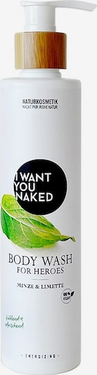 I Want You Naked Duschgel 'Minze & Limette For Heroes' in weiß, Produktansicht