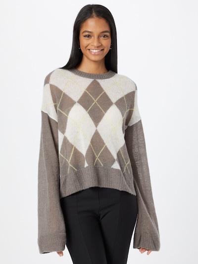WEEKDAY Pullover in dunkelbeige / gelb / weiß, Modelansicht