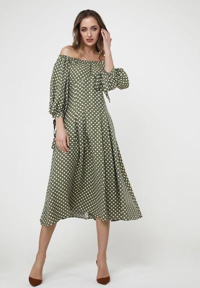 Madam-T Off-Shoulder-Kleid 'ANTONELLA' in grün / weiß, Modelansicht