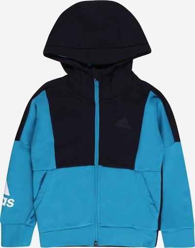 ADIDAS PERFORMANCE Спортна жилетка с качулка в нощно синьо / небесносиньо / бяло: Изглед отпред