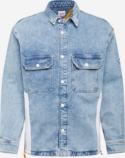 Tommy Jeans Преходно яке в син деним / оранжево / бяло, Преглед на продукта