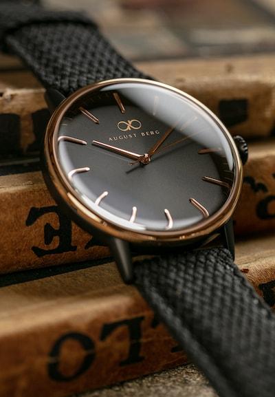 August Berg Uhr 'SERENITY NOIR BLACK WITH TOP RING PERLON 40mm' in schwarz, Produktansicht
