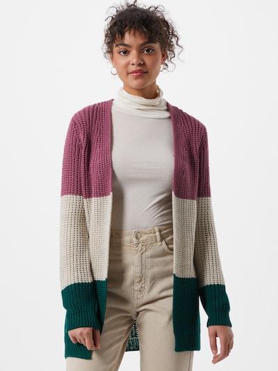 Trendyol Strickjacke in beige / dunkelgrün / pink, Modelansicht