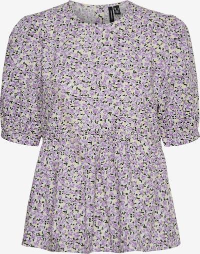VERO MODA Bluse 'Kimmie' in creme / dunkelgrün / flieder, Produktansicht