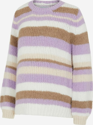 MAMALICIOUS Sweater 'PCMCARMEN' in Brown / Light purple / White, Item view