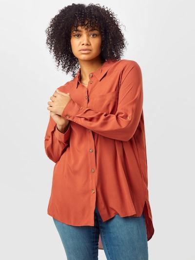 ONLY Carmakoma Bluse in rostbraun, Modelansicht