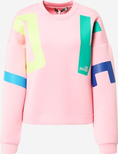 Love Moschino Sweat-shirt en bleu / jaune clair / vert / rose clair, Vue avec produit