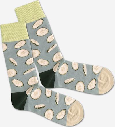 DillySocks Sokken 'Cucumber Water' in de kleur Beige / Grijs / Groen, Productweergave