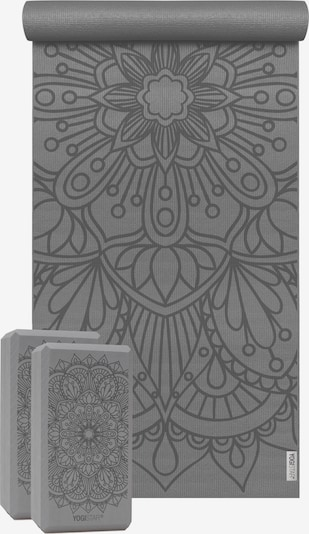 YOGISTAR.COM Yoga-set Starter Edition - Lotus Mandala (yogamatte + 2 Yogablöcke) in grau, Produktansicht