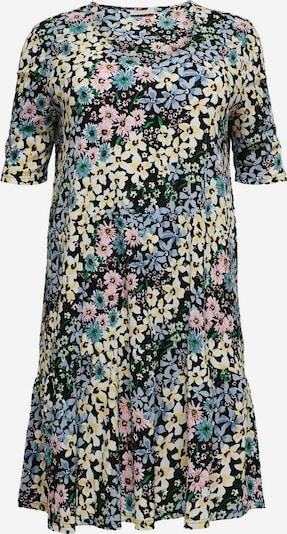 ONLY Carmakoma Kleid in hellblau / hellgelb / dunkelgrün / hellpink, Produktansicht