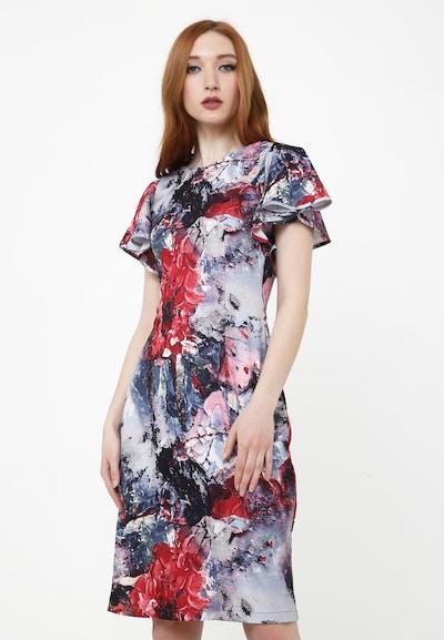 Madam-T Kleid 'Arma' in grau / dunkelgrau / mischfarben / weinrot, Modelansicht