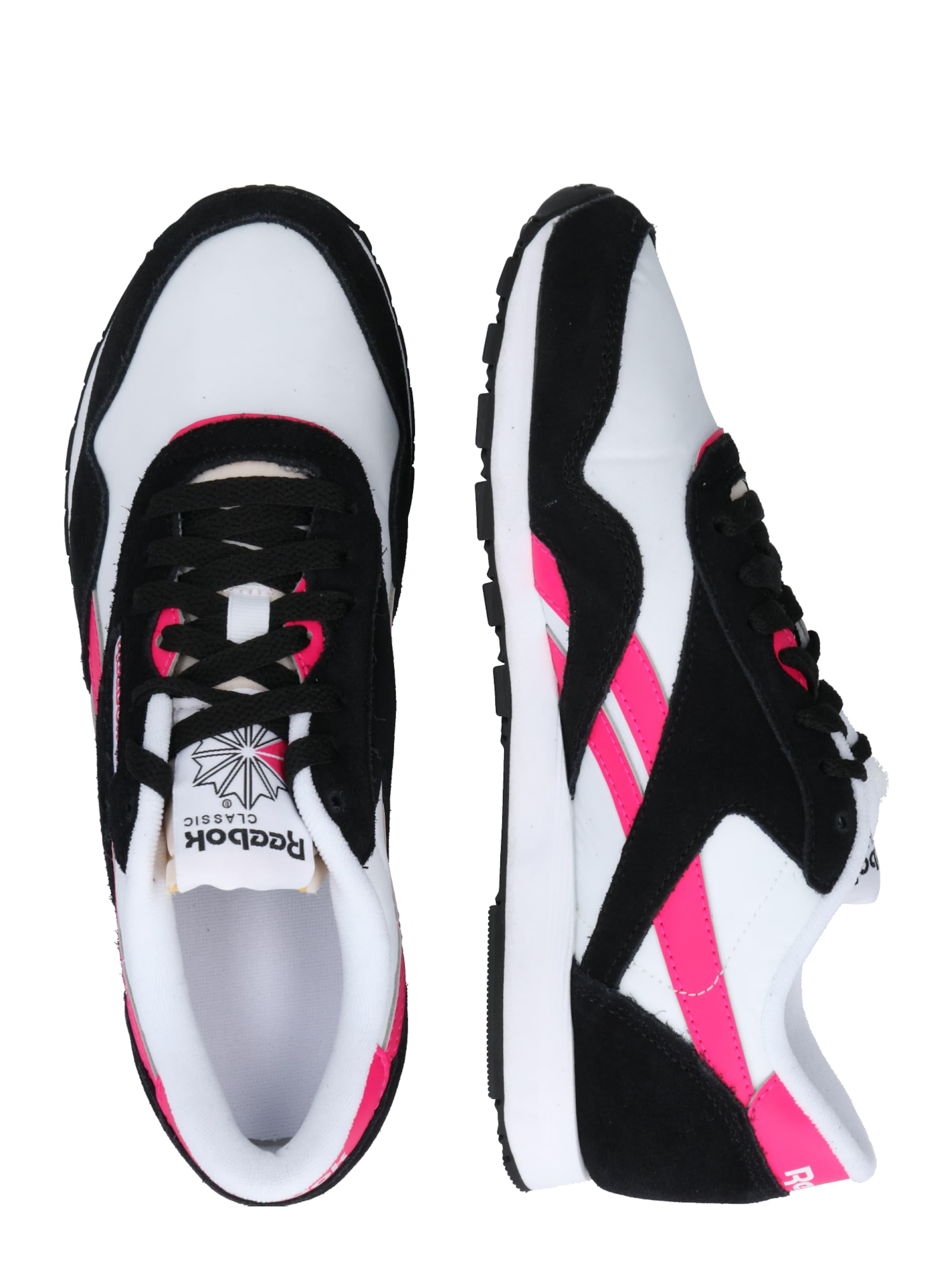 Reebok Classic Rövid szárú edzőcipők neon-rózsaszín / fekete / piszkosfehér színben