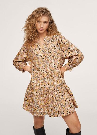 MANGO Kleid in schoko / gelb / orange / rosa, Modelansicht