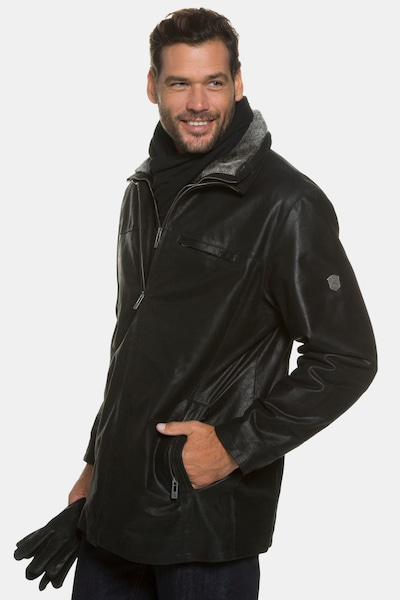JP1880 JP 1880 Herren große Größen bis 7 XL, gefütterte Lederjacke, Pork-Leder mit Zip Fleece Einsatz, im Set Handschuhe & Schal 705620 in schwarz, Produktansicht