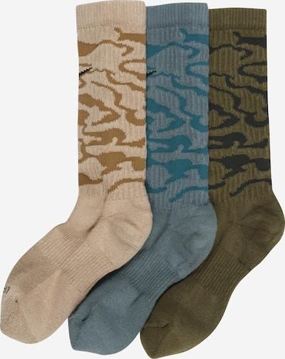 NIKE Chaussettes de sport en beige / bleu-gris / kaki, Vue avec produit