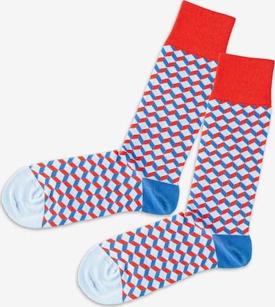 DillySocks Socken in hellblau / hellrot / weiß, Produktansicht