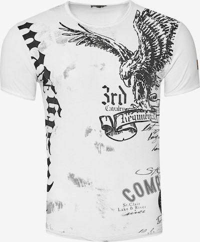 Rusty Neal T-Shirt mit modernem Front & Back Print 'American Eagle' in weiß: Frontalansicht