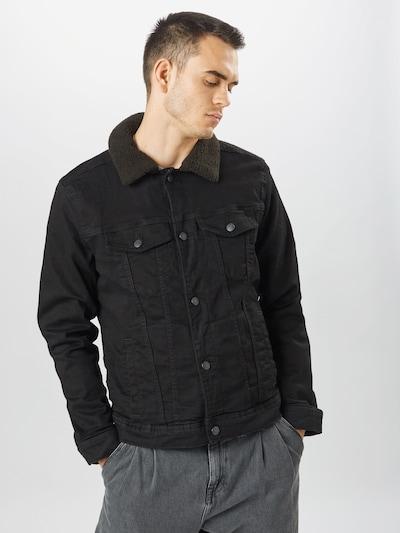 fekete farmer HOLLISTER Átmeneti kabátok 'Sherpa', Modell nézet