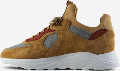 EKN Footwear Sneakers laag 'LARCH' in de kleur Donkerbeige / Grijs / Wijnrood, Productweergave