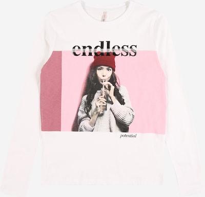 KIDS ONLY Majica 'KIA LIFE' | roza / rosé / vinsko rdeča / črna / naravno bela barva, Prikaz izdelka