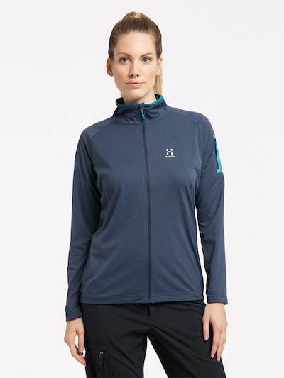 Haglöfs Functionele fleece jas 'Mirre Mid' in de kleur Blauw / Wit: Vooraanzicht