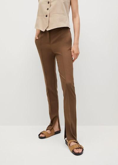 MANGO Bandplooibroek in de kleur Bruin, Modelweergave